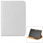 Protective Woven Style PU Leather Case w/ Card Slot for Samsung N8000 - Silver