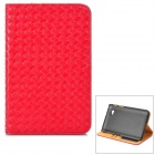 Protective Woven Style PU Leather Case w/ Card Slot for Samsung P3200 - Red