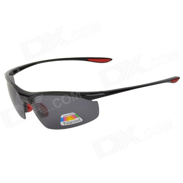 CARSHIRO XQ-040 Cycling Polarized UV400 Protection PC Frame Resin Lens Sunglasses - Black + Red carshiro 9150 uv400 protection resin lens polarized night vision driving glasses