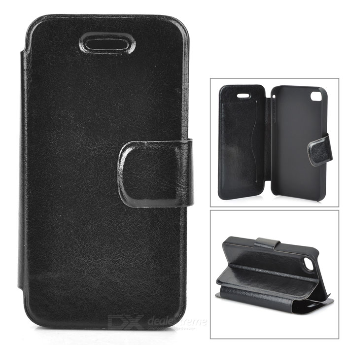 Protective PU Leather Case for Iphone 4 / 4S - Black stylish protective pu leather case w magnetic closure for iphone 4 4s black