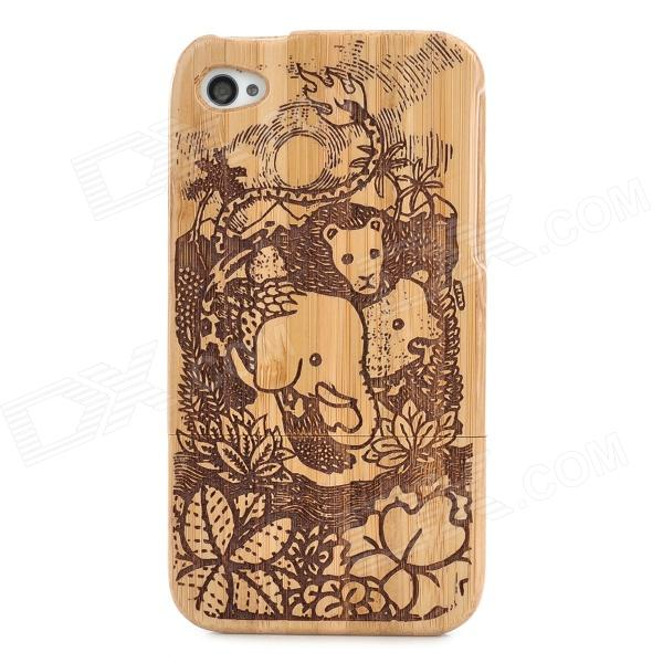 Zoo Pattern Protective Bamboo Case for Iphone 4
