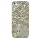 Retro Stylish Jeans Pattern Protective Plastic Back Case for Iphone 5 - Green