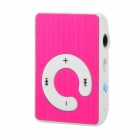 Tragbare Mini wiederaufladbare MP3 Player w / Clip / TF - Deep Pink + White