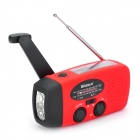 Shinco SK-10  Hand Cranking Solar Power FM/AM Radio w/ LED Flashlight - Red + Black