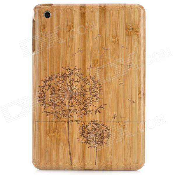 Retro Stylish Dandelion Pattern Protective Carbonized Bamboo Back Case for Ipad MINI - Brown retro tree pattern protective bamboo back case for samusng s4 i9500 yellow brown
