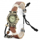 Retro Tribal Style PU Leather Band Zinc Alloy Dial Quartz Analogue Wrist Watch - Brown (1 X AG626)