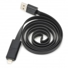 Ip-5 Compact 1-to-2 USB Male to Lightning + Micro USB Male Data Sync & Charging Flat Cable - Black