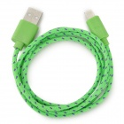 Stylish Nylon Housing USB Male to Lighting Charging Cable for iPhone 5 - Green (100cm)