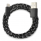 Stylish Nylon Housing USB Male to Lightning Charging Cable for iPhone 5 - Black (100cm)