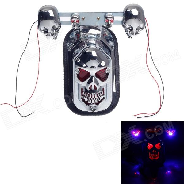 Skull Head Style 1W 60lm 9-LED Motorcycle Decoration light / Tail light / Steering light - (12V) skull head style 1w 4 led 60lm yellow light motorcycle steering lamps silver 12v
