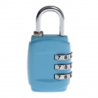CJSJ Resettable 3-Digit Number Combination Lock - Blue + Silver