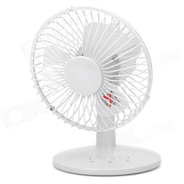 HK-F2030 USB Powered Head-Shaking 3-Blade 2-Mode Desktop Fan - White
