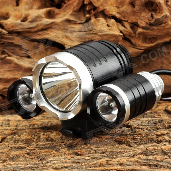 ZHG-3 2400lm 3-Mode White Bicycle Light w/ 3 x Cree XM-L U2 - Silver + Black (4 x 18650) sl8023 1150lm 4 mode white bicycle headlamp w 3 x cree xm l u2 black silver 4 x 18650