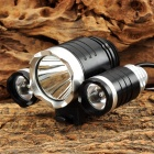 ZHG-3 2400lm 3-Mode White Bicycle Light w/ 3 x Cree XM-L U2 - Silver + Black (4 x 18650)