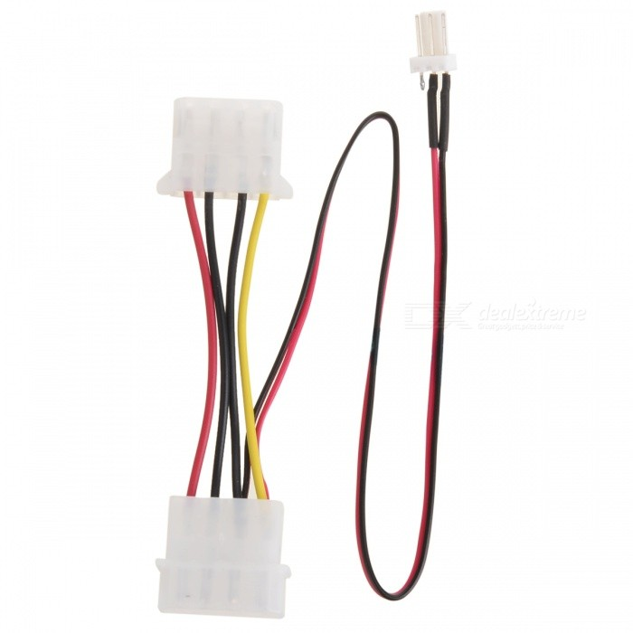 Universal Large 4-Pin to 3-Pin Power Supply Adapter Cable for Computer CPU Fan - White universal 38 pin to 16 pin obd obd2 obdii diagnostic adapter connector cable for mercedes benz cy096 cn