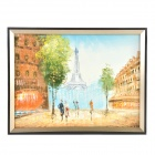 Hand Painted Oil Painting Happy Times in Paris with Wood Frame - Multicolored