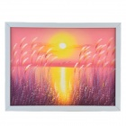 Handmade Hand Painted Oil Painting The Setting Sun at Dusk with Wood Frame - Multicolored