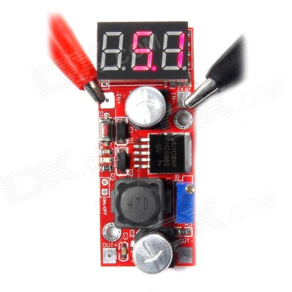 DC 4.5~28V to 1.3~25V LM2596 Step Down Converter w/ Red LED / Panel Voltmeter - Red dc dc automatic step up down boost buck converter module 5 32v to 1 25 20v 5a continuous adjustable output voltage