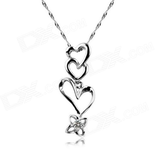 eQute PSIW262 925 Sterling Silver Heart to Heart Pendant Necklace for Women - Silver