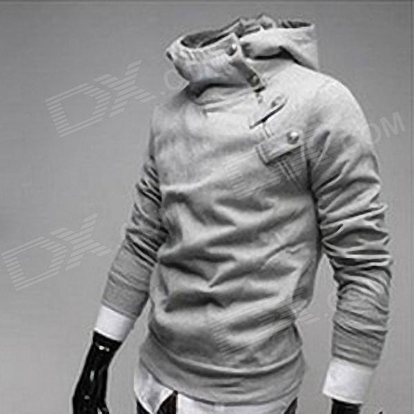 Fashionable Men's Slim Fit Hooded Fleece - Light Grey (Size L)