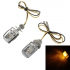 Waterproof 1W 585nm 6-LED Yellow Car Steering Lamp - Black + Transparent (12V / 2 PCS)
