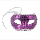 PDMF--JBMJ-1 Half-face Crew-cut Lace Painted Mask for Costume Party - Purple + Silver