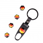 Germany Flag Replacement Aluminum Alloy Car Tire Valve Caps + Key Ring Set - Black (4 PCS)