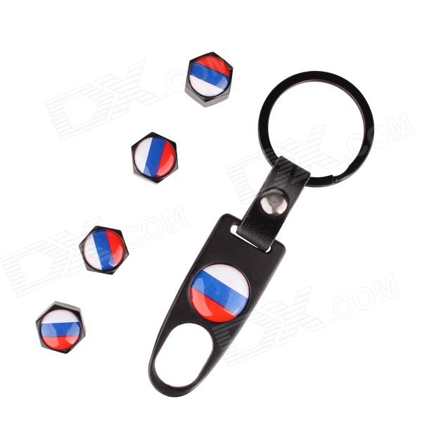 Russian Flag Replacement Aluminum Alloy Car Tire Valve Caps + Key Ring Set - Black (4 PCS) 1 10 rubber on road racing car model replacement tire black 4 pcs