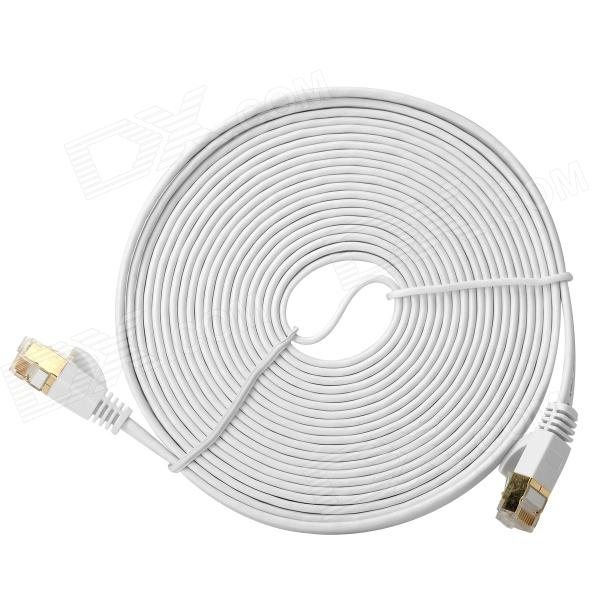 CAT-7 RJ45 Male to Male High Speed Transmission Flat Network Cable - White (5m)