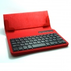 "Universal 60-key Bluetooth Detachable Keyboard w/ PU Leather Case for 7"" Tablet PC - Red"