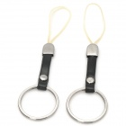 Ring Style Cell Phone Decoration Cord Strap - Black + Silver (2 PCS)