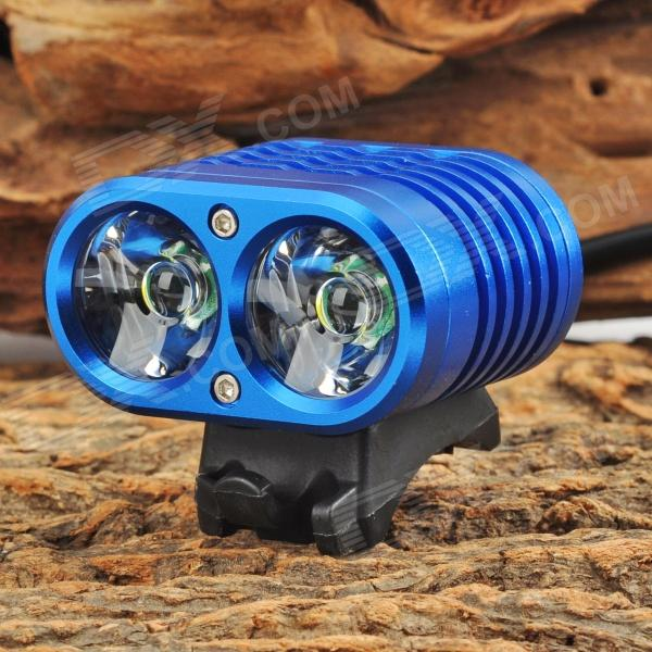 YINDING YD-2XU2 1200lm 4-Mode White Bicycle Headlamp w/ 2 x CREE XM-L U2 - Blue (4 x 18650) 950lm 3 mode white bicycle headlamp w cree xm l t6 black silver 2 x 18650