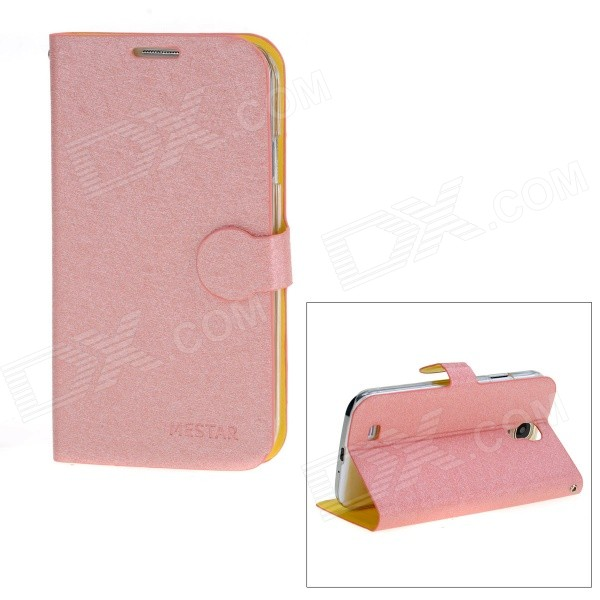 все цены на Stylish Flip-Open Protective PU Leather Case Cover Stand for Samsung Galaxy S4 i9500 - Pink онлайн