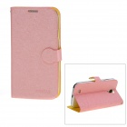 Stylish Flip-Open Protective PU Leather Case Cover Stand for Samsung Galaxy S4 i9500 - Pink