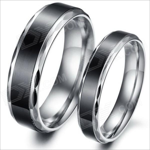 Simple Retro Fashionable Personality Stainless Steel Couple Rings - Silver + Black (US Size 9 + 7) ysdx 398 fashion stainless steel self stirring mug black silver 2 x aaa