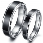 Simple Retro Fashionable Personality Stainless Steel Couple Rings - Silver + Black (US Size 9 + 7)