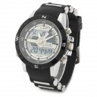 ALIKE SD-1104 Men's Sporty 30-meter Waterproof Analog + Digital Quartz Wrist Watch - Black + White