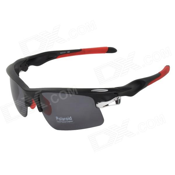 CARSHIRO 9058 Cycling Polarized UV400 Protection Sunglasses Goggles - Black + Red carshiro 9191 men s stylish uv400 polarized goggles sunglasses black red