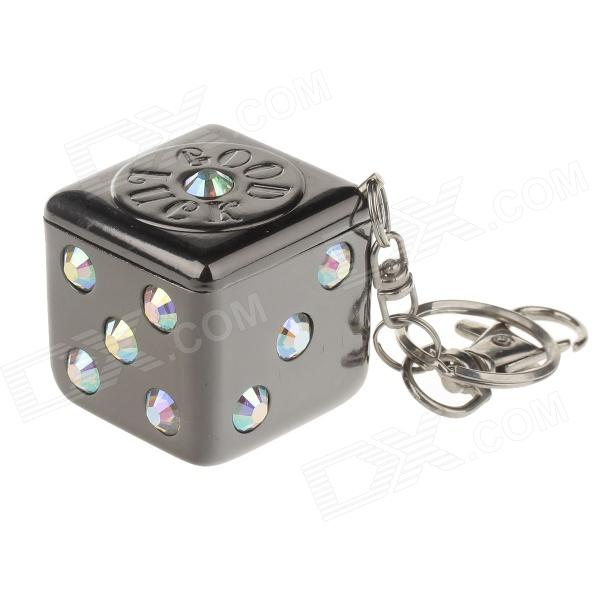 Keychain Portable Stainless Steel Shining Rhinestone Dice Style Rotary Top Ashtray - Grey top 967 beautiful color labradorite ashtray 009