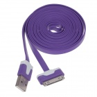 Flat 30-Pin Male to USB 2.0 Male Data Sync / Charging Cable for iPhone 4 / 4S / iPad 2 / 3 - Purple