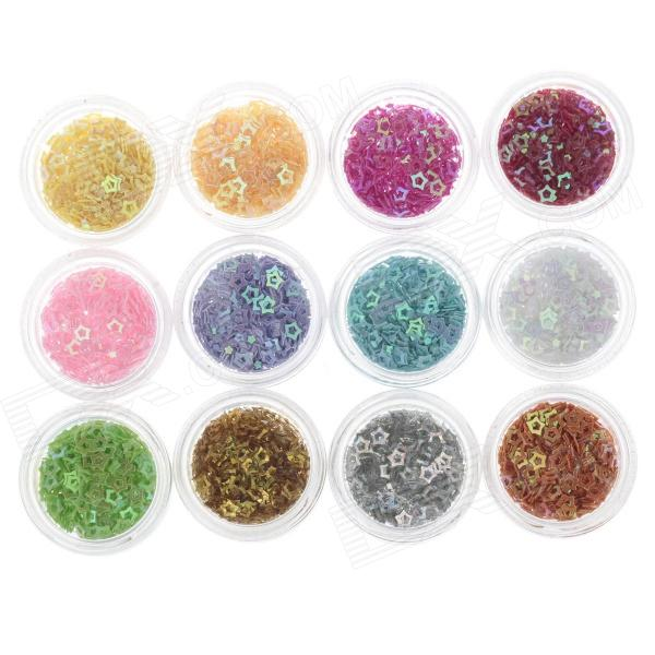 DIY 12-in-1 Star Shape Nail Art Decoration Sequins Set - Multicolored diy 12 in 1 nail art cell phone decoration acrylic rhinestones set multicolored