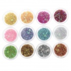 DIY 12-in-1 Star Shape Nail Art Decoration Sequins Set - Multicolored