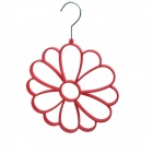 Petal Style Multifunction Stainless + Woolen Cloth + Resin Scarf Storage Hanger - Red + Silver