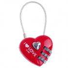 CJSJ CR-28A Heart Style Resettable 3-Digit Number Combination Lock - Red + Silver