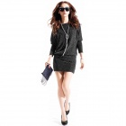BTLYQ-01 Woman's Stylish Long Sleeve Brocade Dress - Black + Silver (L)
