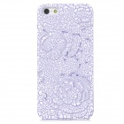 Relief Rose Style Protective Plastic Back Case for iPhone 5 - White + Purple