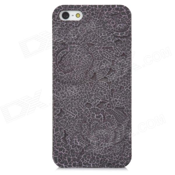 Relief Rose Style Protective Plastic Back Case for Iphone 5 - Black + Pink