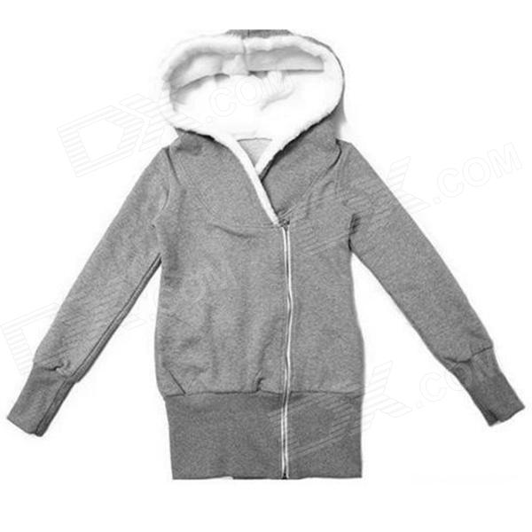 Woman's modische mittellange Zipper Baumwolle Hoodie Sweater - grau
