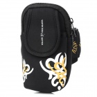 "Oval Shaped Printing Pattern Sports Neoprene Armband Bag for 4~4.5"" Screen Cell Phones - Black"