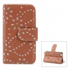 Protective PU Leder Flip Open Case w / Phote Slot für iPhone 4 / 4S - Braun
